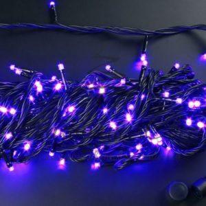 Светодиодная гирлянда Rich LED Нить 20 м, 220В, подключается контроллер, соединяемая, черный провод, Фиолетовая