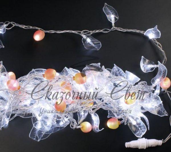 Светодиодный декор-флора Rich LED, 10 м, 220В, постоянного свечения, прозрачный провод, Белый