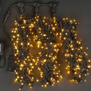 Светодиодная гирлянда Rich LED 3 Нити по 20 м c контроллером, Желтая, черный провод