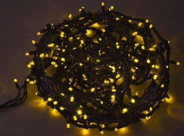 """Гирлянда """"Твинкл Лайт"""" 20 м, черный КАУЧУК, 240 диодов, цвет желтый"""