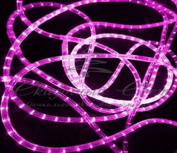 Светодиодный дюралайт Rich Led 13 мм, круглый, 2-х проводной, кратность резки 1 м, постоянное свечение, розовый