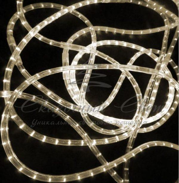 Светодиодный дюралайт Rich Led 13 мм, круглый, 2-х проводной, кратность резки 1 м, постоянное свечение, теплый белый