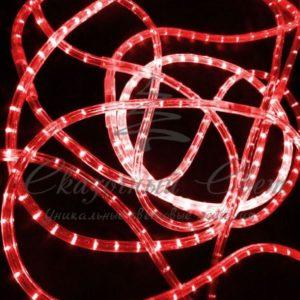 Светодиодный дюралайт Rich LED 13 мм, круглый, 3-х проводной, кратность резки 2 м, чейзинг, красный
