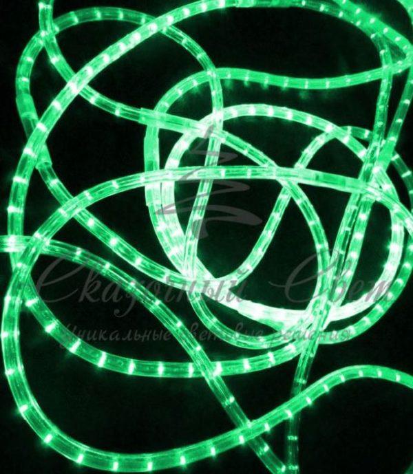 Светодиодный дюралайт Rich LED 13 мм, круглый, 3-х проводной, кратность резки 2 м, чейзинг, зеленый