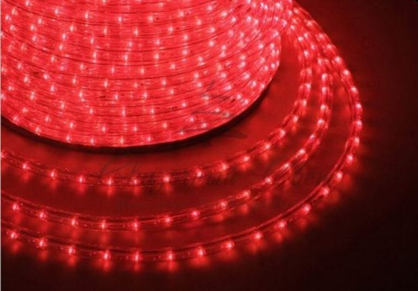 Дюралайт LED, постоянное свечение (2W) - красный Эконом 24 LED/м, бухта 100м