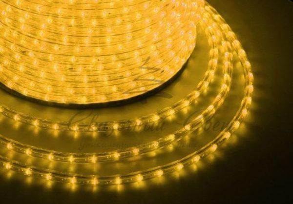 Дюралайт LED, эффект мерцания (2W) - желтый, 36 LED/м, бухта 100м
