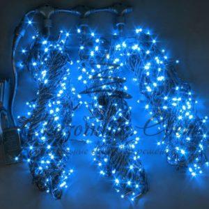 Светодиодная гирлянда Rich LED 3 Нити по 20 м c контроллером, Синяя, черный провод