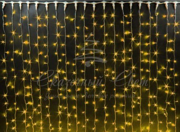 Светодиодный занавес Rich LED мерцающий, IP65, герметичный колпачок, белый провод, 2х9 м, желтый