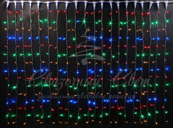 Светодиодный занавес Rich LED мерцающий, IP65, герметичный колпачок, белый провод, 2х9 м, мульти