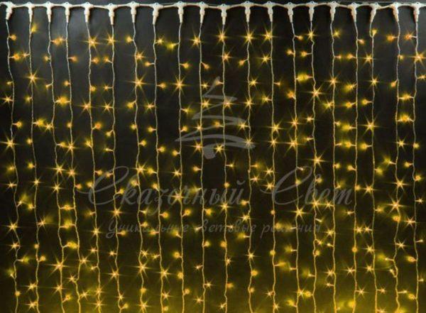 Светодиодный занавес Rich LED мерцающий, IP65, герметичный колпачок, черный провод, 2х6 м, желтый