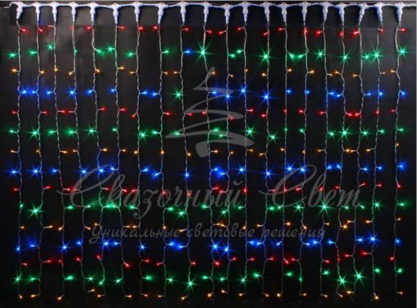Светодиодный занавес Rich LED мерцающий, IP65, герметичный колпачок, черный провод, 2х6 м, мульти