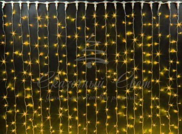 Светодиодный занавес Rich LED мерцающий, IP65, герметичный колпачок, черный провод, 2х9 м, желтый