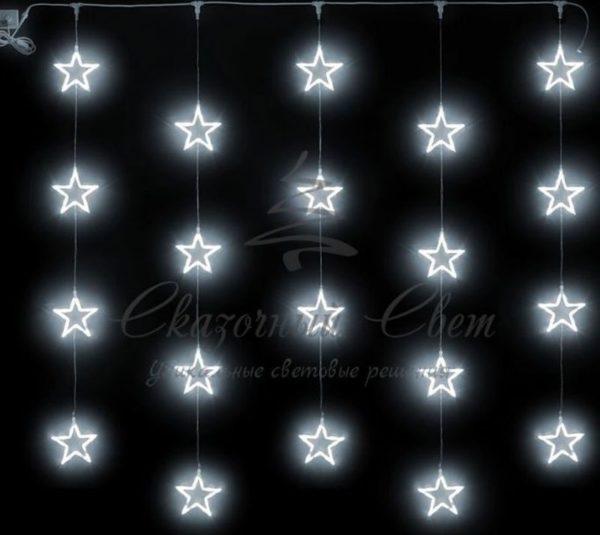 Светодиодный узорный занавес Rich LED Звезды 2х2 м, белый на прозрачном проводе