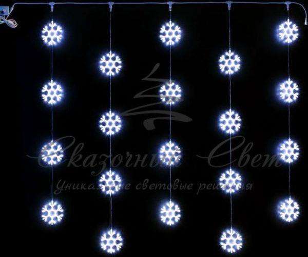 Светодиодный узорный занавес Rich LED Снежинки 2х2 м, белый на прозрачном проводе