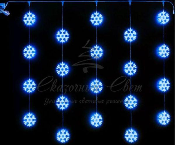 Светодиодный узорный занавес Rich LED Снежинки 2х2 м, синий на прозрачном проводе