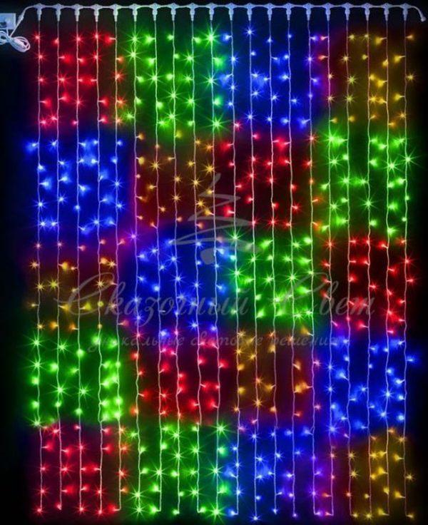 Светодиодный занавес Rich LED МУЛЬТИ КВАДРАТЫ , прозрачный провод, 2х3