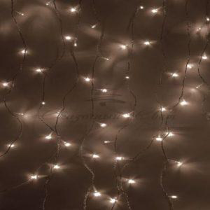 Гирлянда «Светодиодный Дождь»  1,5х1,5м, свечение с динамикой, прозрачный провод, 230 В, диоды ТЕПЛО-БЕЛЫЕ