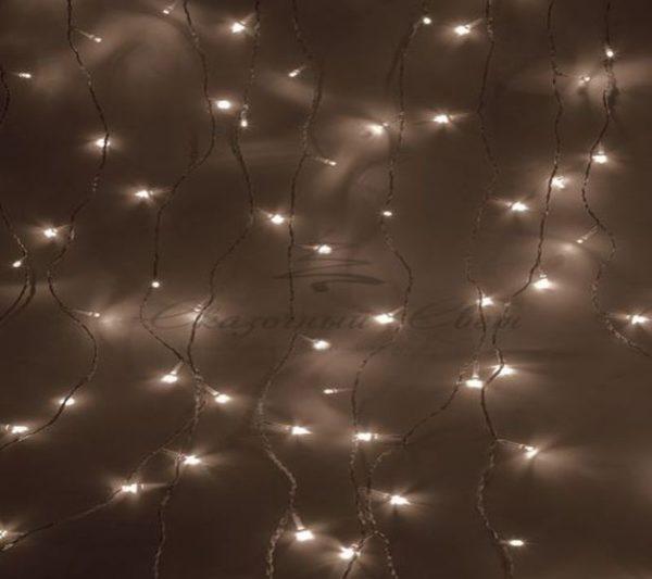 """Гирлянда """"Светодиодный Дождь""""  1,5х1,5м, свечение с динамикой, прозрачный провод, 230 В, диоды ТЕПЛО-БЕЛЫЕ"""