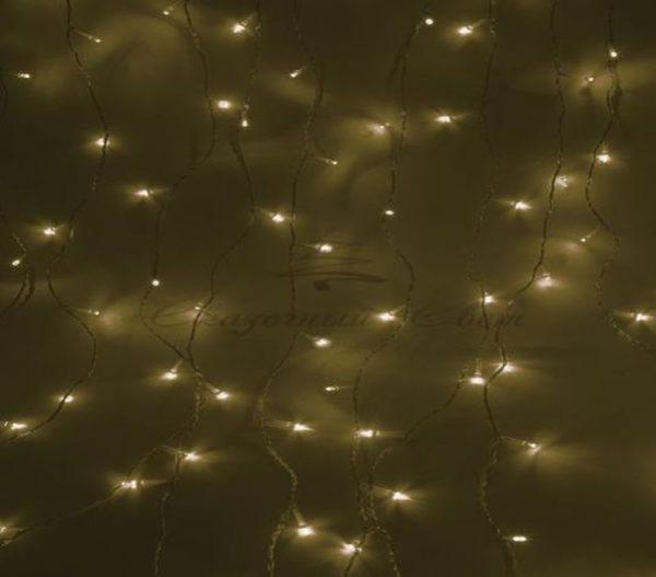 """Гирлянда """"Светодиодный Дождь""""  1,5х1м, свечение с динамикой, прозрачный провод, 230 В, диоды ТЕПЛО-БЕЛЫЕ"""