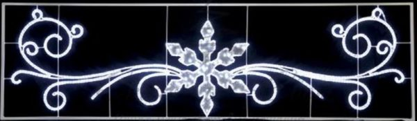 "Фигура световая ""Снежинка с кружевами"" размер 4. 2х1. 2м 3"