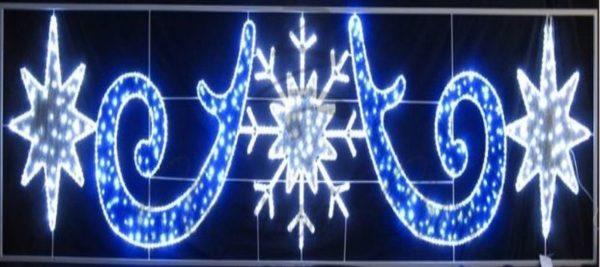 "Фигура световая ""Снежинка со звездами"" размер 5х1. 2м 3"