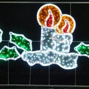 Фигура световая «Две свечи» размер 3. 3х1. 4м
