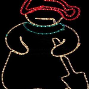 Фигура «Снеговик с лопатой», размер 94*63 см