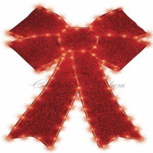 Фигура «Бантик» бархатная, с постоянным свечением, размеры 75*65 см (182 КРАСНЫХ светодиода)