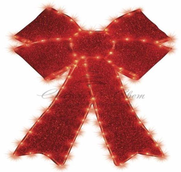 """Фигура """"Бантик"""" бархатная, с постоянным свечением, размеры 75*65 см (182 КРАСНЫХ светодиода) 3"""