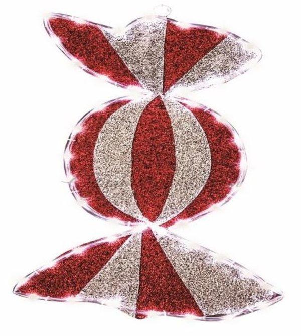 """Фигура """"Карамель"""" бархатная, с постоянным свечением, размеры 60*30 см (45 БЕЛЫХ светодиодов) 2"""