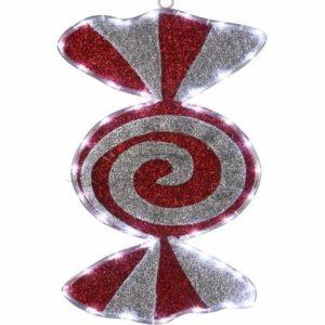 Фигура «Карамель» бархатная, размеры 60*30 см (42 БЕЛЫХ светодиодов)