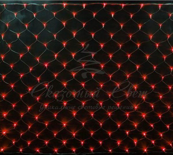 Светодиодная сетка Rich LED 2*1.5м, прозрачный провод, красная