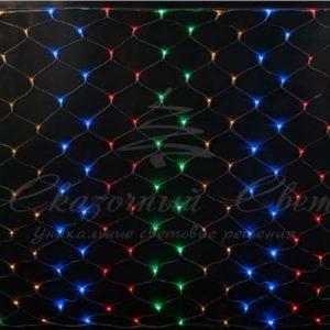 Светодиодная сетка Rich LED 2*1.5м, прозрачный провод, мультиколор