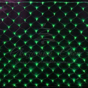 Светодиодная сетка Rich LED 2*1.5м, прозрачный провод, зеленая