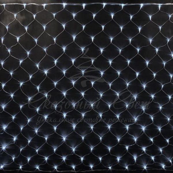 Светодиодная сетка Rich LED 2*1.5м, прозрачный провод, белая