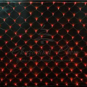Светодиодная сетка Rich LED 2*3 м, прозрачный провод, красная