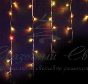 Светодиодная бахрома RGB Хамелеон Rich LED, 5*0.7 м, прозрачный провод