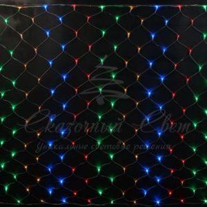 Светодиодная сетка Rich LED 2*3 м, прозрачный провод, мультицвет