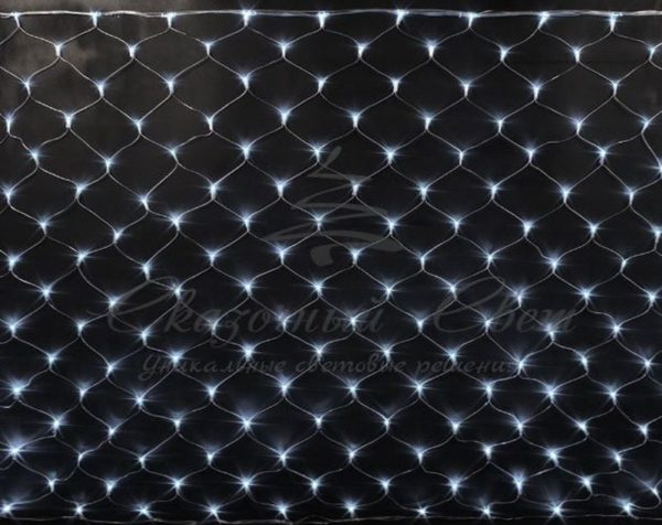 Светодиодная сетка Rich LED 2*3 м, прозрачный провод, белая