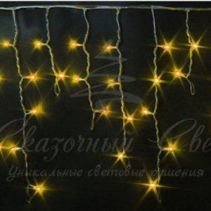 Светодиодная бахрома Rich LED 3х0.5 м прозрачный провод, Желтая