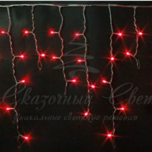 Светодиодная бахрома Rich LED 3х0.5 м прозрачный провод, Красная