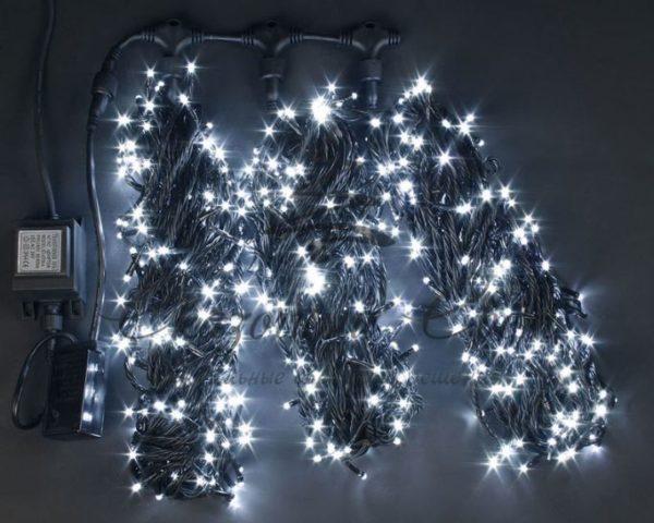 Светодиодная гирлянда Rich LED 3 Нити по 20 м c контроллером, Белая, черный провод