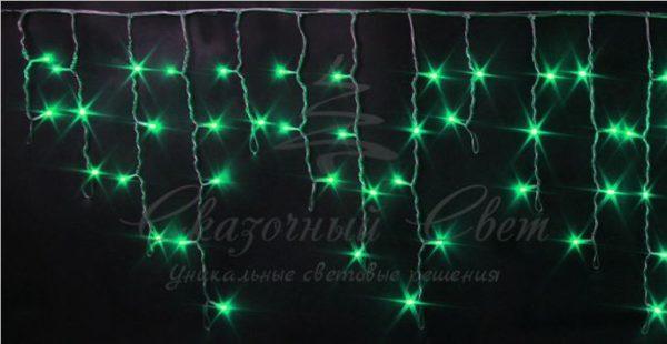 Светодиодная бахрома Rich LED 3х0.5 м прозрачный провод, Зеленая