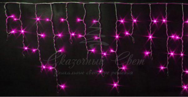 Светодиодная бахрома Rich LED 3х0.5 м прозрачный провод, Розовая