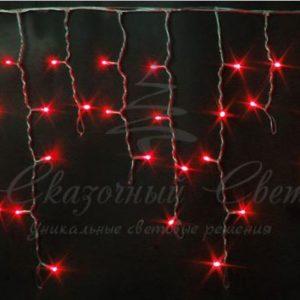 Светодиодная бахрома Rich LED 3х0.5 м, черный провод, Красная