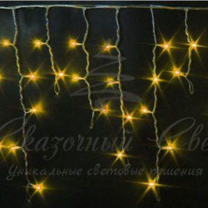 Светодиодная бахрома Rich LED 3х0.5 м, черный провод, Желтая