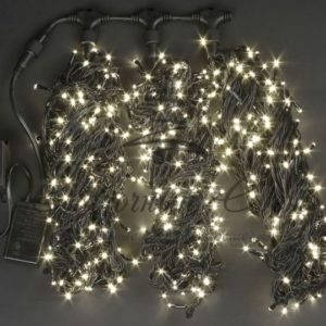 Светодиодная гирлянда Rich LED 3 Нити по 20 м c контроллером, Тепло-белая, черный провод