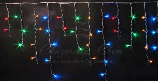 Светодиодная бахрома Rich LED 3х0.5 м, черный провод, Мульти