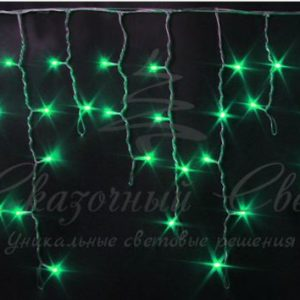 Светодиодная бахрома Rich LED 3х0.5 м, черный провод, Зеленая