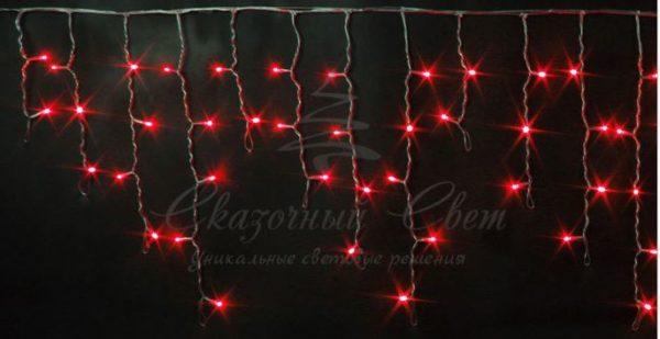 Светодиодная бахрома Rich LED 3х0.5 м мерцающая, прозрачный провод, Красная